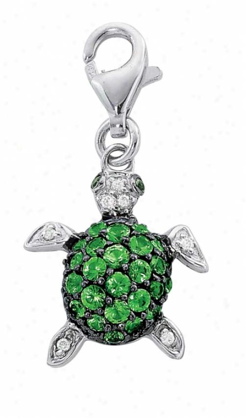 14k White Turtle 1.5 Mm Green Garnet And Diamond Charm