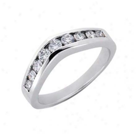 14k White V Shape Curved Design 0.5 Ct Diamond Band Ring