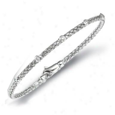 14k White Weaved Bangle Diamond Bracelet - 7.25 Inch