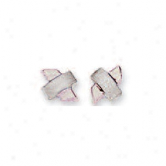 14k White X Stud Earrings