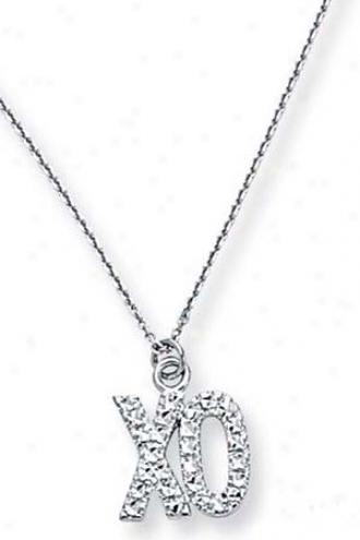 14k Wyite Xo Necklace - 18 Inch
