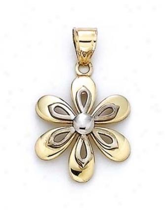 14k White Yellow Blossom Pendant
