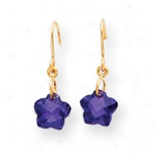 14k Wire Flower Purple Cz Childrens Earrings