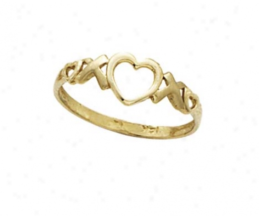 14k X And Heart Cutout Ring