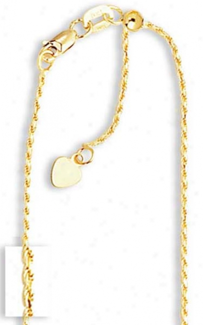 14k Yellow 1 Mm Adjustable Rope Chain Necklace - 22 Inch
