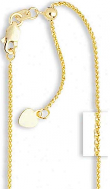 14k Yellow 1 Mm Adjustable Wheat Chain Ndcklace - 22 Inch