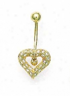 14k Yellow 1 Mm Round Cz Open Heart Belly Ring