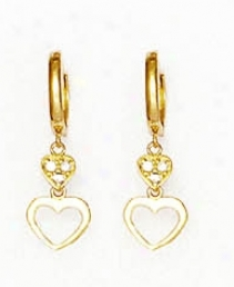 14k Yellow 1 Mm Plump Cz Petite Heart Hinged Earrings