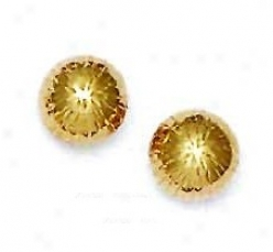 14k Yellow 10 Mm Diamond-cut Ball Earrings