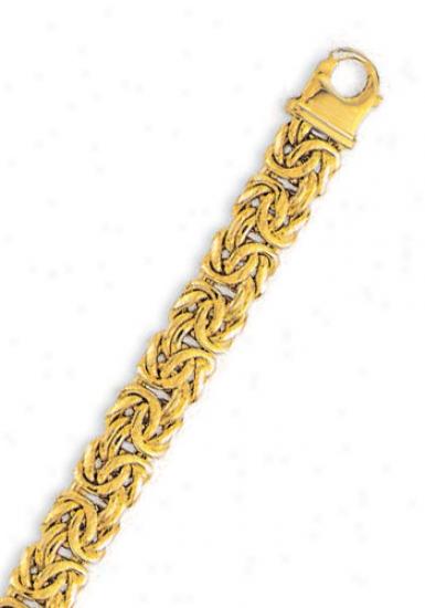 14k Yellow 10 Mm Light Byzantine Bracelet - 7.25 Incb
