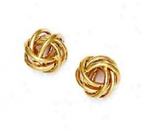 14k Yellow 10 Mm Love-knot Friction-back Post Earrings