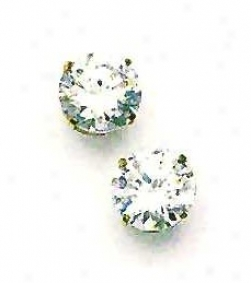 14k Yellow 10 Mm Round Cz Friction-back Post Post Earrings