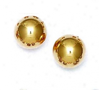 14k Yellow 14 Mm Ball Friction-back Post Stud Earrings