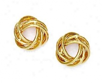 14k Yellow 14 Mm Love-knot Friction-back Post Earrings