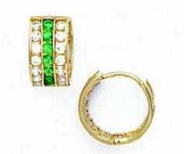 14k Yeoow 1.5 Mm Full Clear And Emerald-green Cz Earrings