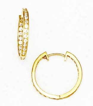 14k Yellow 1.5 Mm Round Cz Hingec Earrings