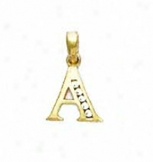 14k Yellow 1.5 Mm Round Cz Initial A Pendant