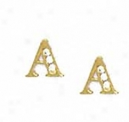 14k Golden 1.5 Mm Rounr Cz First A Post Earrings