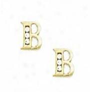 14k Yellow 1.5 Mm Round Cz Initial B Post Earrings