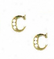 14k Yellow 1.5 Mm Round Cz Incipient C Post Earrings