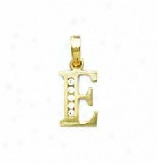 14k Yellow 1.5 Mm Round Cz Initial E Pendant