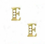 14k Yellow 1.5 Mm Cycle Cz Initial E Post Earringw