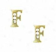 14k Yellow 1.5 Mm Round Cz Initial F Post Earrinngs