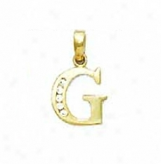 14k Yellow 1.5 Mm Round Cz Initial G Pendant