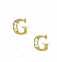14k Yellow 1.5 Mm Round Cz Initial G Post Earrings