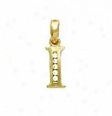 14k Yellow 1.5 Mm Round Cz First I Pendant