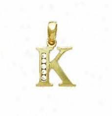 14k Yellow 1.5 Mm Round Cz Initial K Pendant