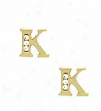 14k Yellow 1.5 Mm Round Cz Initial K Post Earrings