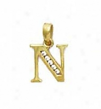 14k Yellow 1.5 Mm Round Cz Iniyial N Pendant
