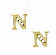 14k Yellow 1.5 Mm Roune Cz Initial N Post Earrings