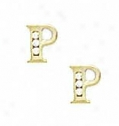 14k Yellow 1.5 Mm Round Cz Initial P Post Earrings