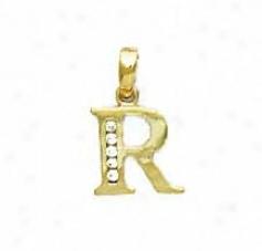 14k Golden 1.5 Mm Round C Initial R Pendant