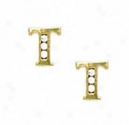 14k Yellow 1.5 Mm Round Cz Initial T Post Earrings