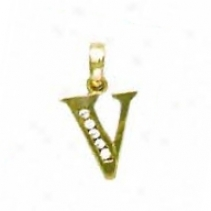 14k Yellow 1.5 Mm Round Cz Initial V Appendix