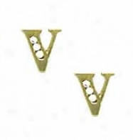14k Yellow 1.5 Mm Round Cz Iitial V Post Earrings