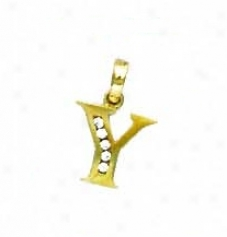 14k Yellow 1.5 Mm Round Cz Initial Y Pendant