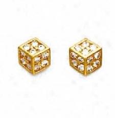 14k Yellow 1.5 Mm Round Cz Medium Dice Earrings