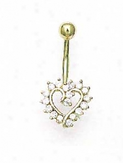 14k Yellow 1.5 Mm Round Cz Open Heart Belly Rlng