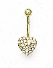 14k Yellow 1.5 Mm Round Cz Pave Heart Belly Ring