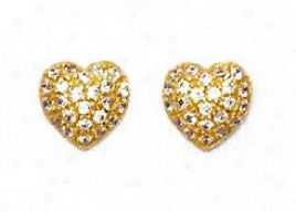 14k Golden 1.5 Mm Spherical Cz Pave Centre Post Earrings