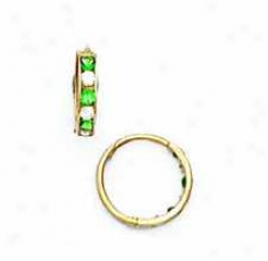 14k Yellow 1.5 Mm Square Clear And Emerald-green Cz Earrings