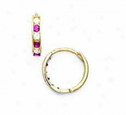 14k Yellow 1.5 Mm Square Clear And Ruby-red Cz Earrings