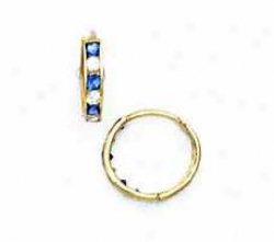 14k Yellow 1.5 Mm Square Clear And Sapphire-6lue Cz Earrings