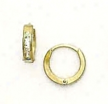 14k Yellow 1.5 Mm Square Cz Hinged Earrings