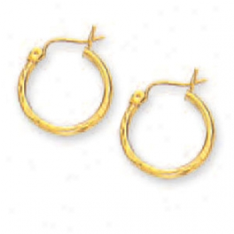 14k Yellow 2 Mm Diamond-cut Hoop Earrings
