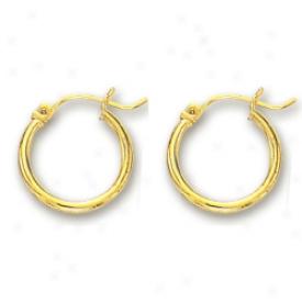 14k Yellow 2 Mm Hoop Earrings